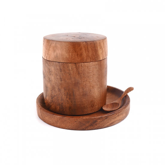 TIMBER CANISTER, SPOON & COASTER