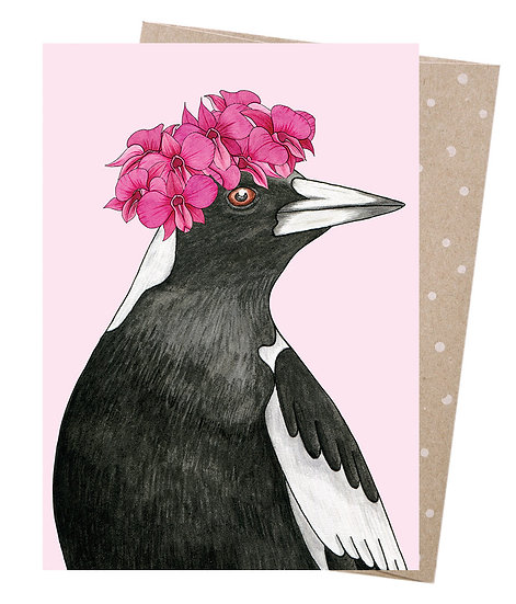 GREETING CARD - ORCHID CROWNED MAGPIE