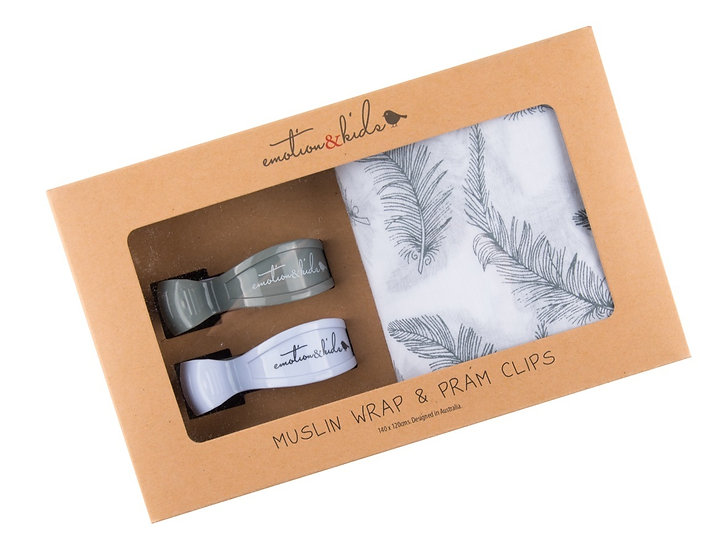 GREY FEATHER WRAP & CLIPS SET