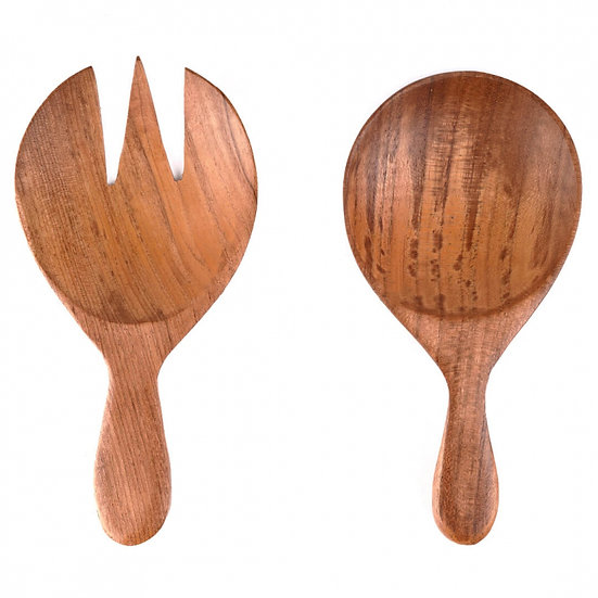 SHORT TIMBER SALAD SERVERS