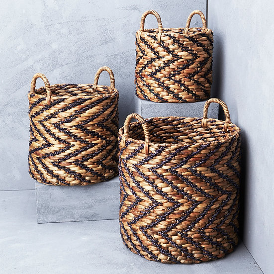 INDIGO CHEVRON BASKET (3 SIZES)