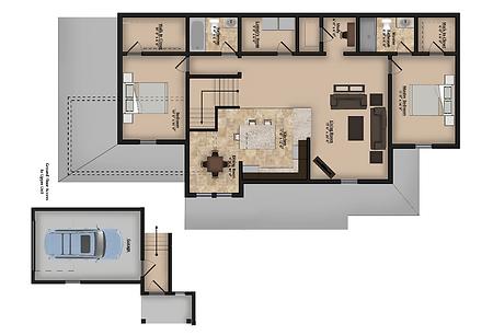 Upper Floor Plan Two Bedroom Two Bathroom Apartment