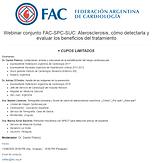 Webinar conjunto FAC-SPC-SUC: Aterosclerosis, cómo detectarla y evaluar los beneficios del tratamiento