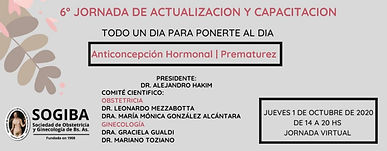 6º Jornada de Actualización y Capacitación: Prematurez / Anticoncepción Hormonal