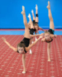 Group of girls exercising during gymnast