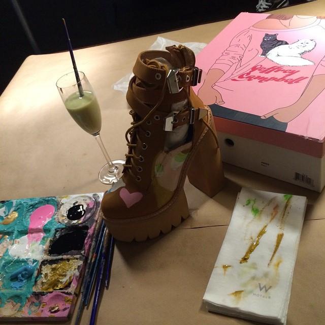 Instagram - Custom Painting some killer  @jeffreycampbell heels for @envishoes :