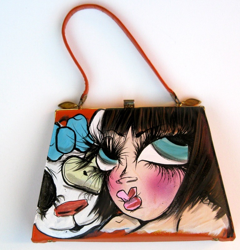 Sand Hand Painted Vintage Purse