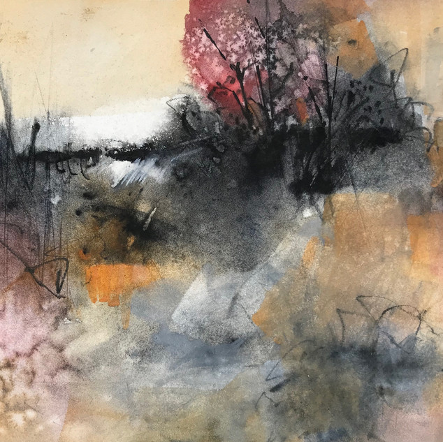 Looking West -mixed media  and watercolo