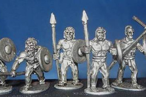 15mm Scots-Irish Bare-chested with Spears
