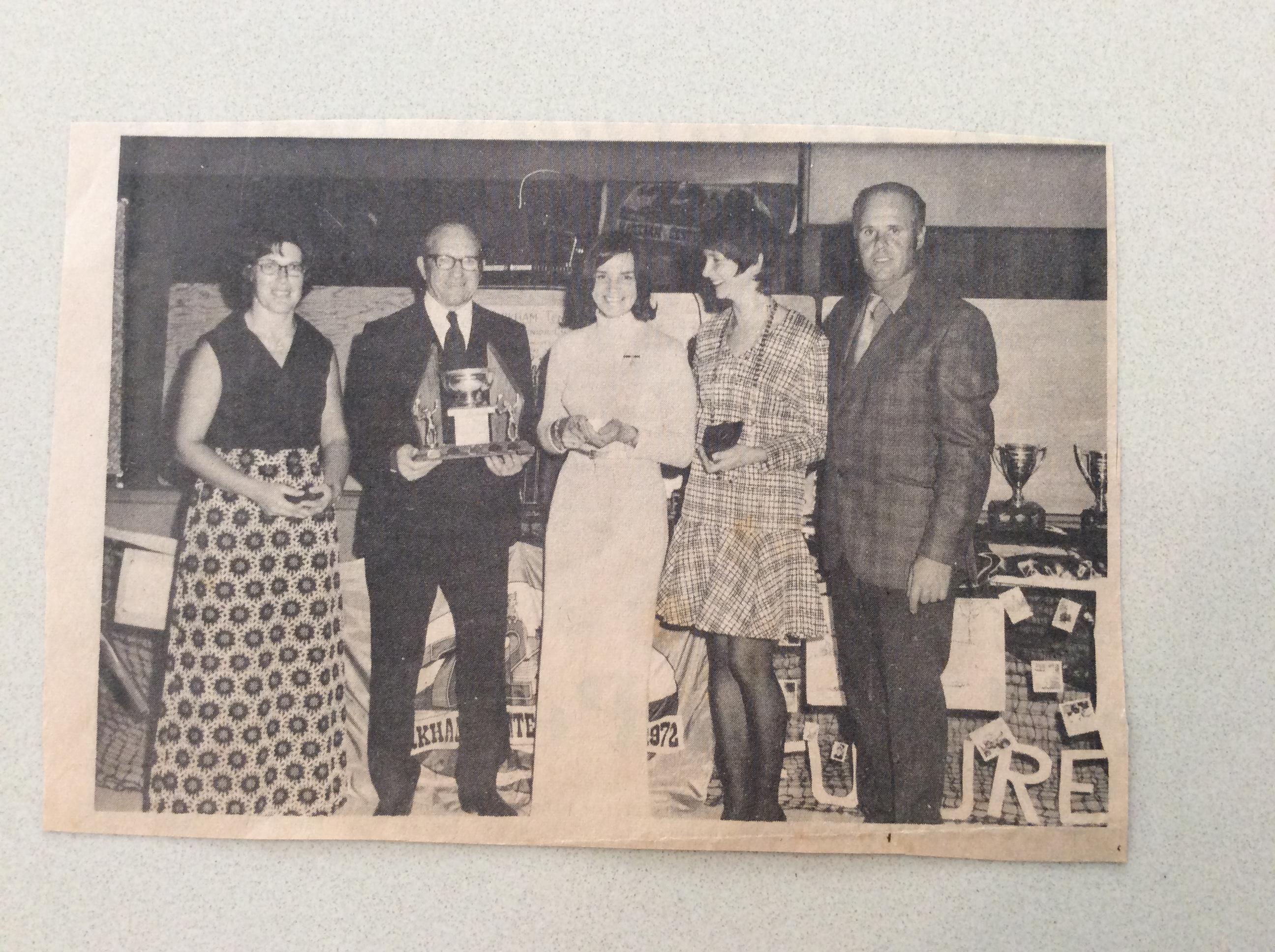 1972 L-R Irene Schneider, Mr. Fleischer, Joy Tammela, Irene Emig, Sam Schneider (President)