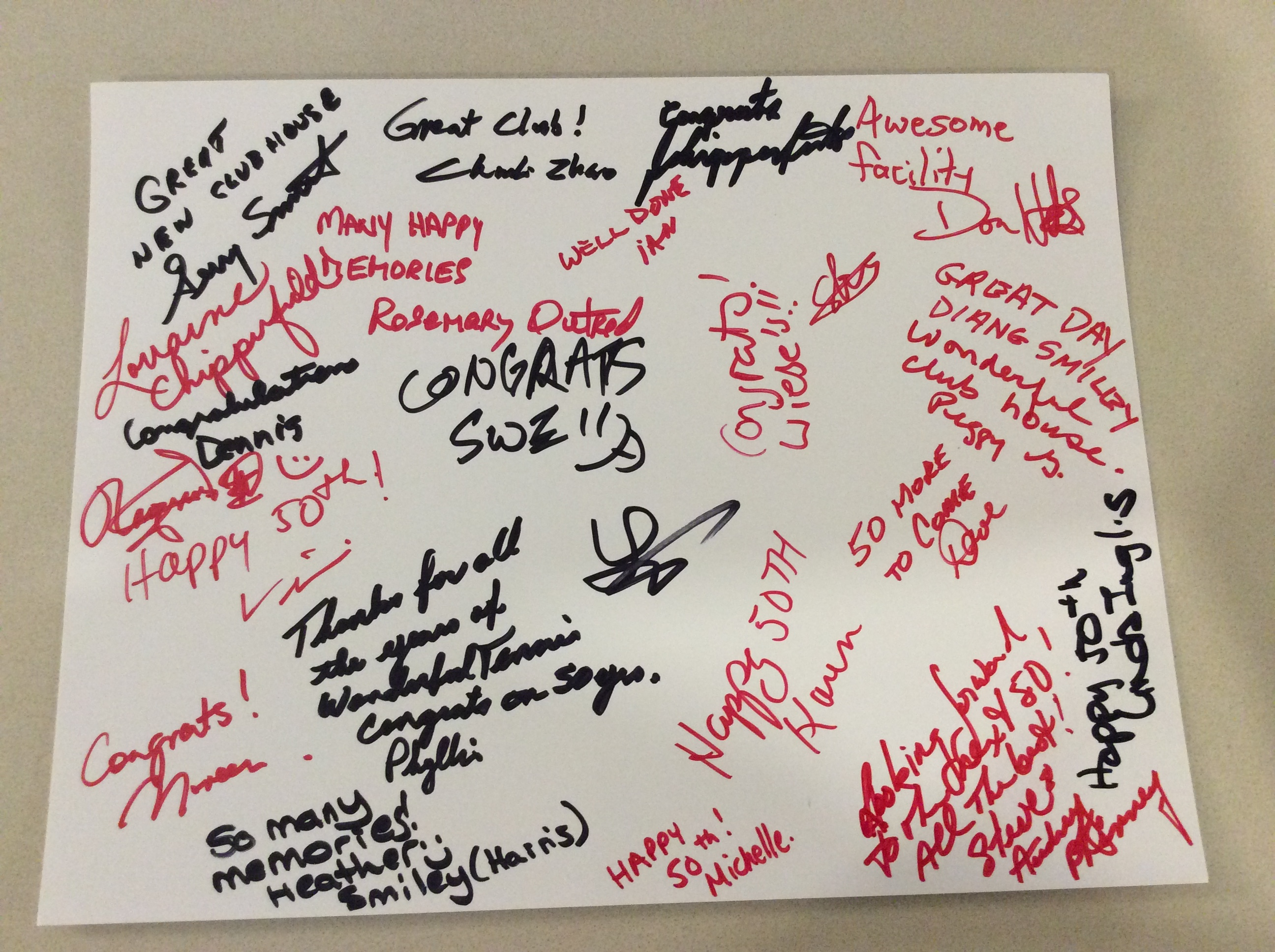 Signatures from well wishers