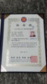 Certificado de representcion Argentina a la Federecion de Artes Marciales Mundial Coreana