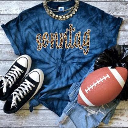 "Blue Tie-Dye ""Sonntag"" T-Shirt"