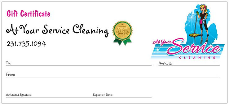 AYS Up North, At Your Service Cleaning Gift Certificate