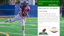 Huiras earns NCFA National Player of the Week honors for Week 6