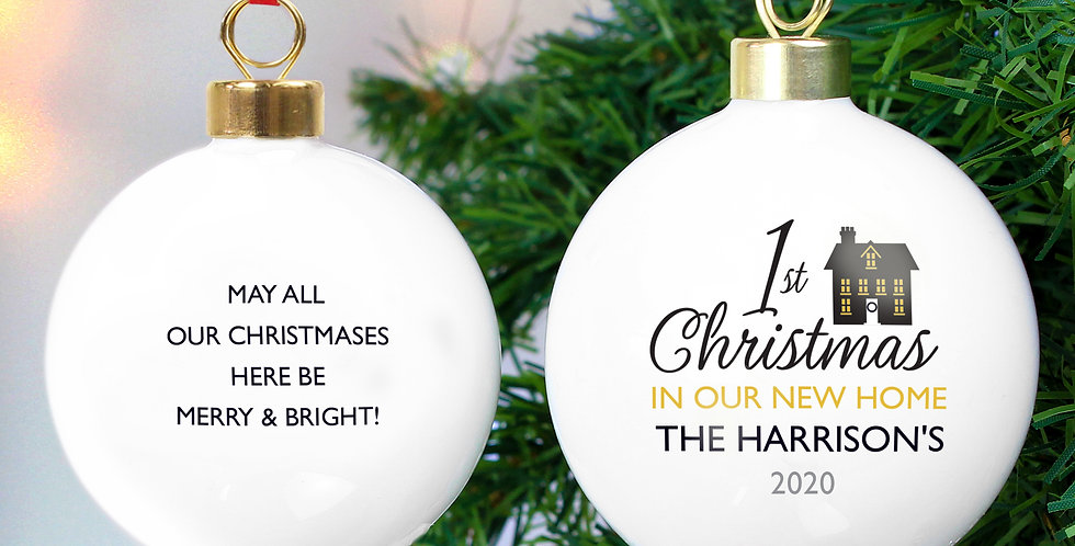 Personalised 1st Christmas in Our New Home Bauble