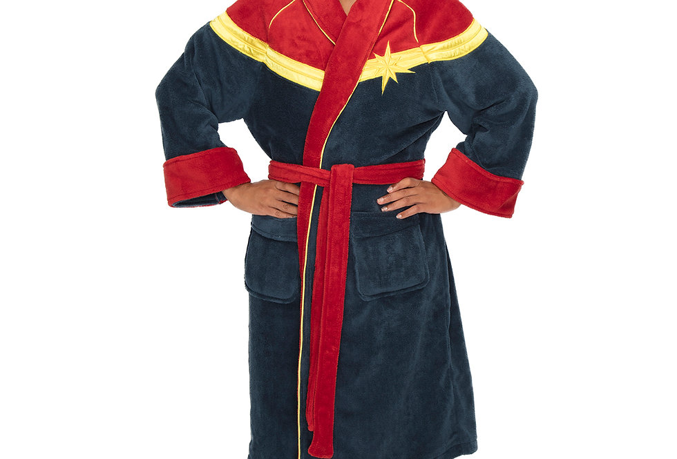 Captain Marvel Ladies Bathrobe Fleece Dressing Gown Front View