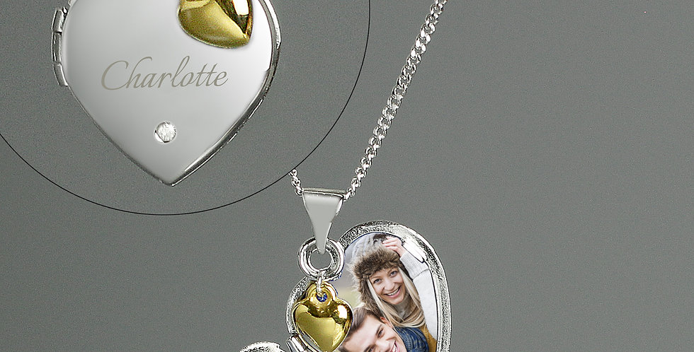 Personalised Sterling Silver Heart Locket Necklace with Diamond and 9ct Gold Cha