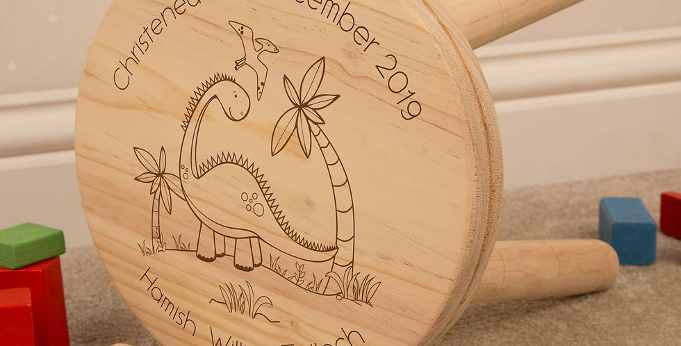 Laser Engraved Dinosaur Wooden Stool