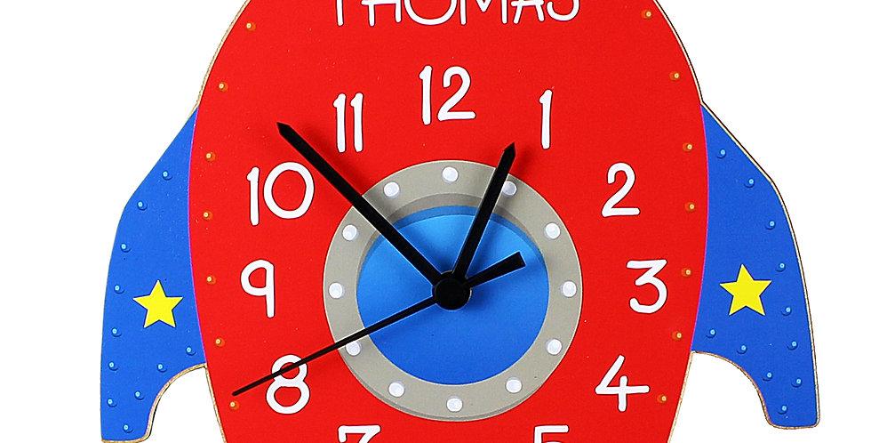 Rocket Shape Wodden Clock