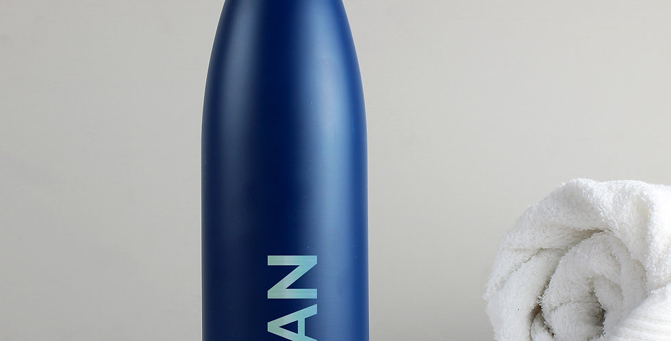 Bold Name Blue Metal Insulated Drinks Bottle