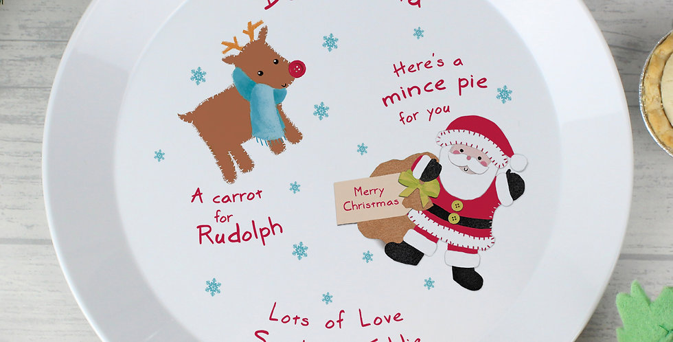 Personalised Santa and Rudolph Christmas Eve Mince Pie Plastic Plate