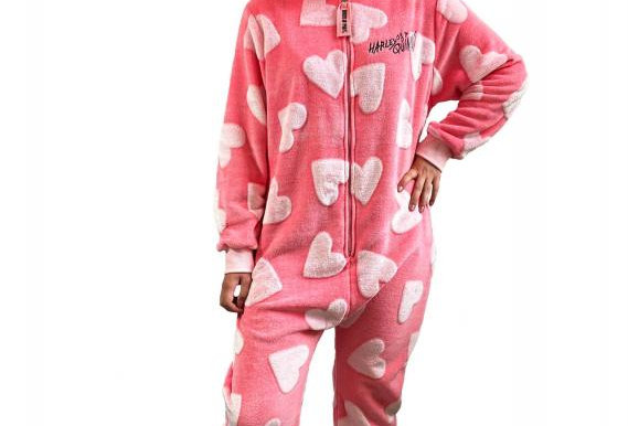 Harley Quinn Birds of Prey Cosy Heart Pink Jumpsuit Adult One Size