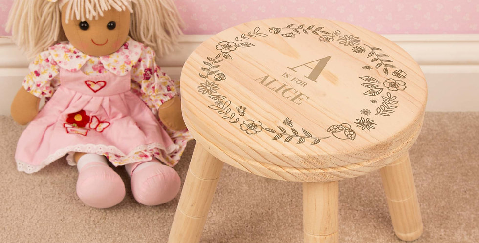Personalised Engraved Girl Alphabet Wooden Stool