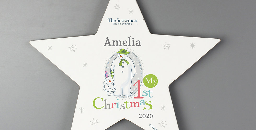 Personalised The Snowman and the Snowdog My 1st Christmas Star Decoration