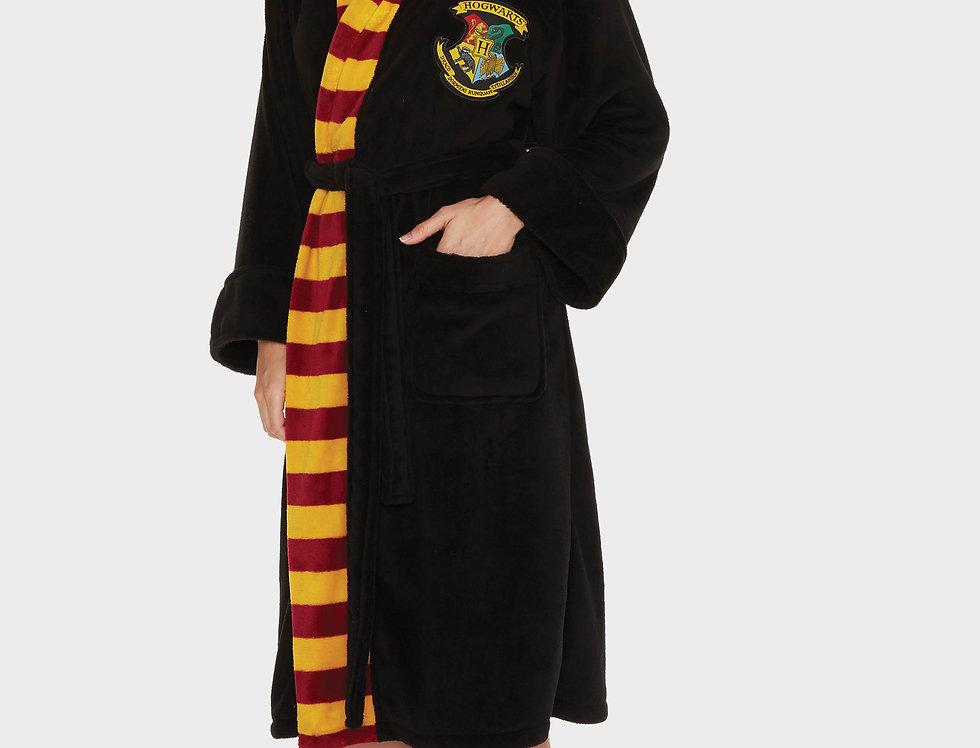Hogwarts Harry Potter Ladies Black Fleece Robe with Scarf Detail