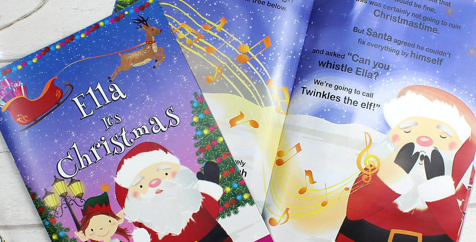 """Personalised Girls """"It's Christmas"""" Story Book, Featuring Santa and his Elf"""