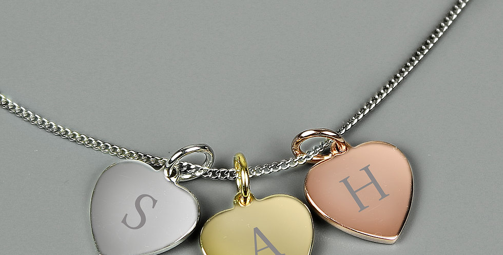 Personalised Initials Gold Rose Gold and Silver 3 Hearts Necklace