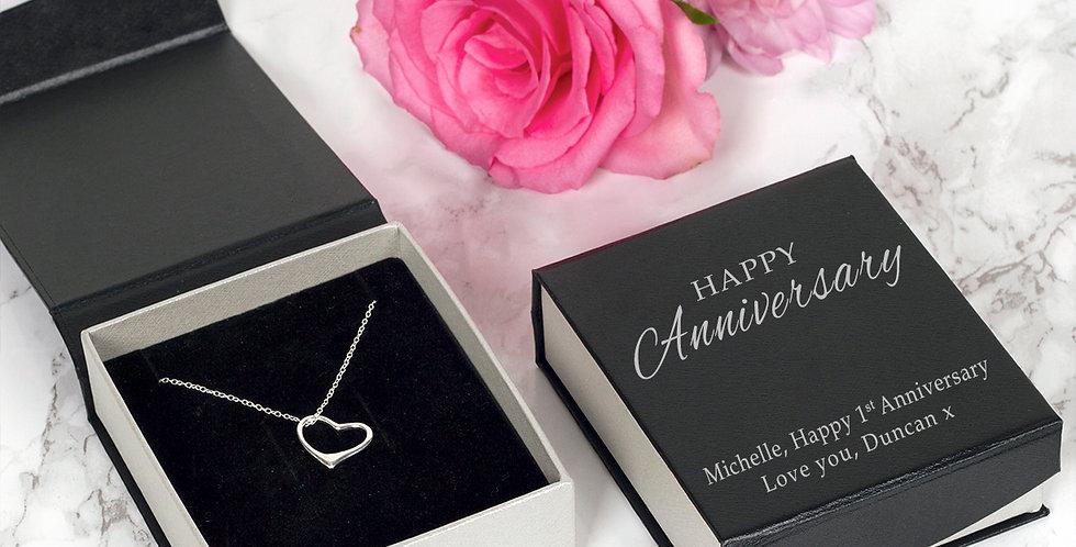 Happy Anniversary Heart Pendant and Chain