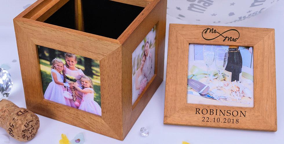 Mr & Mrs Infinity Oak Photo Cube
