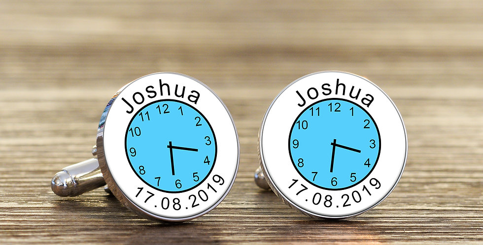Name Time and Date Cufflinks - Blue