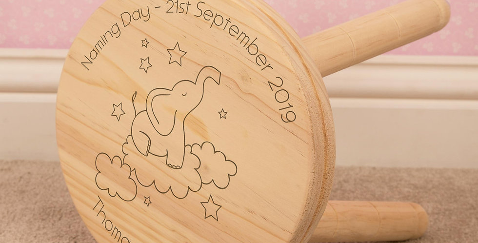 Elephant in Clouds Personalised Stool