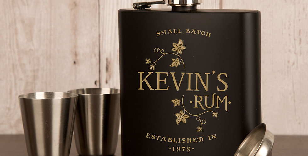 Personalised Rum Lover's Hip Flask Set