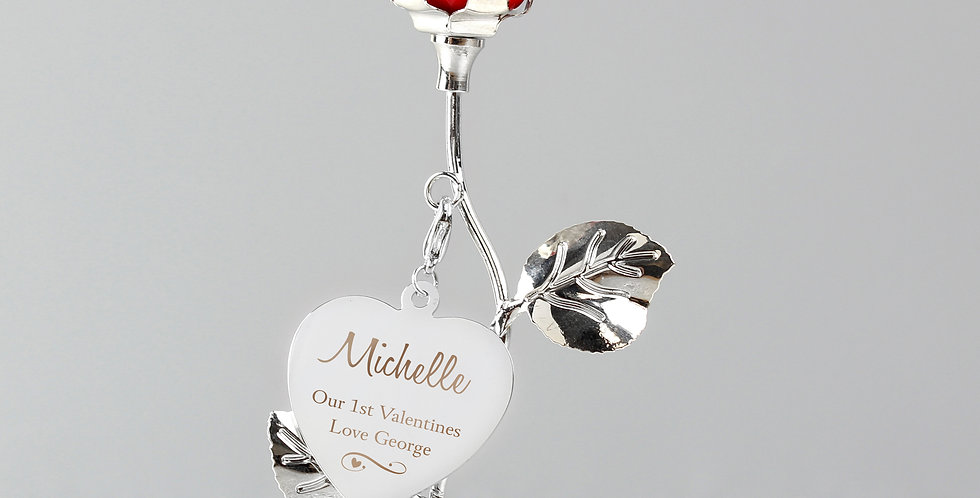 Swirls & Hearts Red Rose Bud Ornament