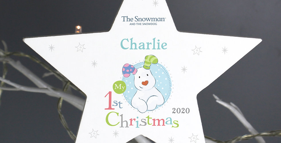 Personalised The Snowman and the Snowdog My 1st Christmas Blue Wooden Star