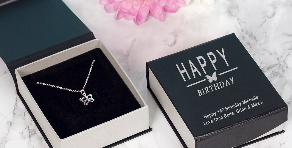 Happy Birthday Butterfly Pendant and Chain