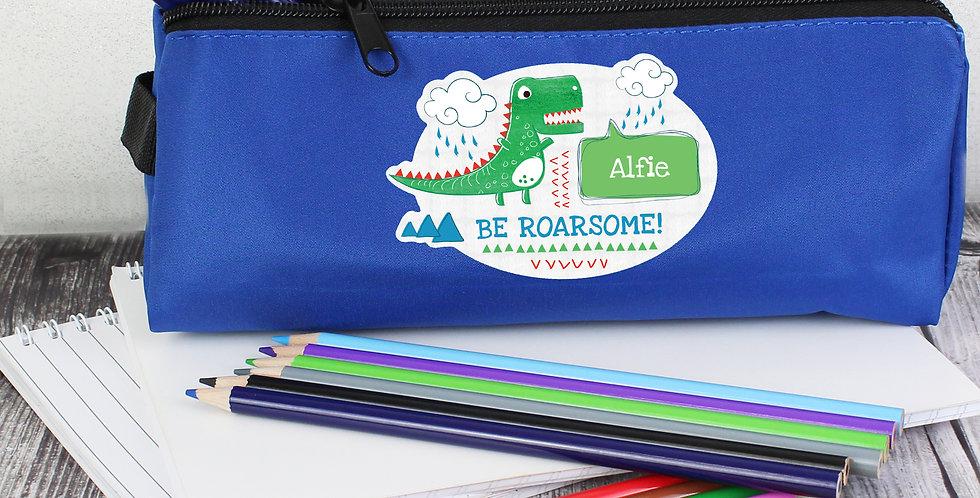 'Be Roarsome' Dinosaur Blue Pencil Case