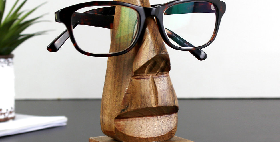 Personalised Message Wooden Nose-Shaped Glasses Holder