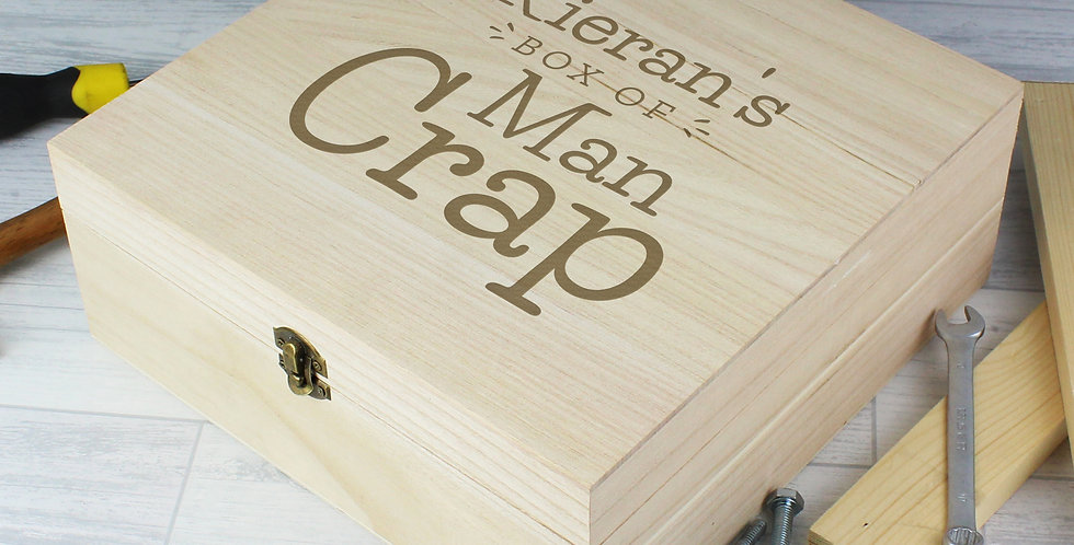 Box of Man Crap Large Wodden Keepsake Box