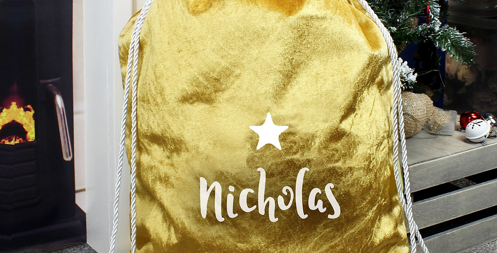 Personalised Name Only Gold Luxury Pom Pom Sack
