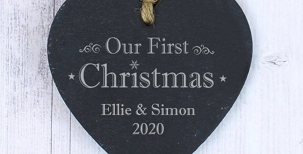Personalised Our First Christmas 2020 Slate Heart Decoration