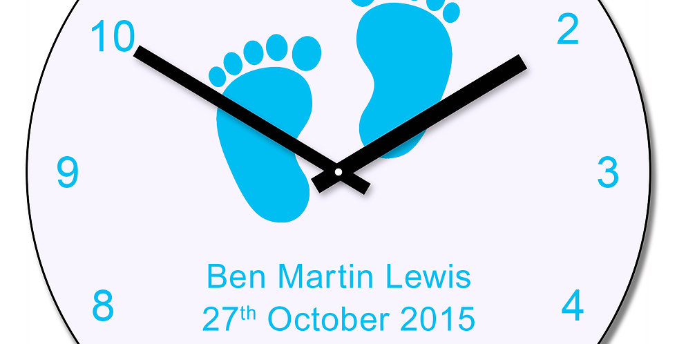 Blue baby feet design wall clock