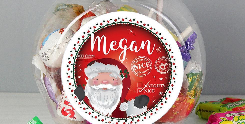 Personalised Santa 'Nice list' Sweet Jar