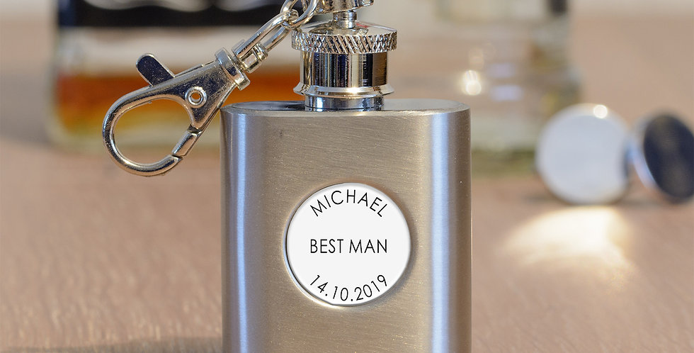1oz S/Steel Wedding Party Hip Flask Key Ring