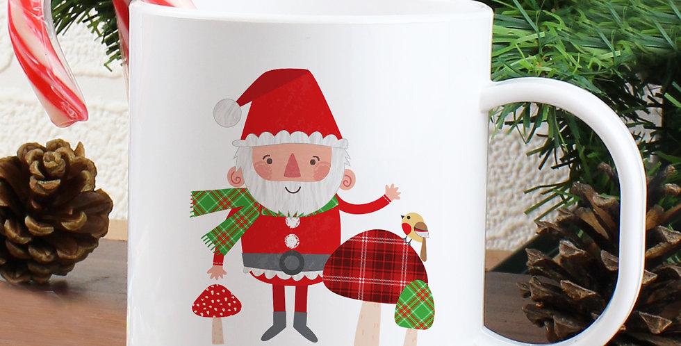 Personalised Christmas Toadstool Santa Plastic Mug