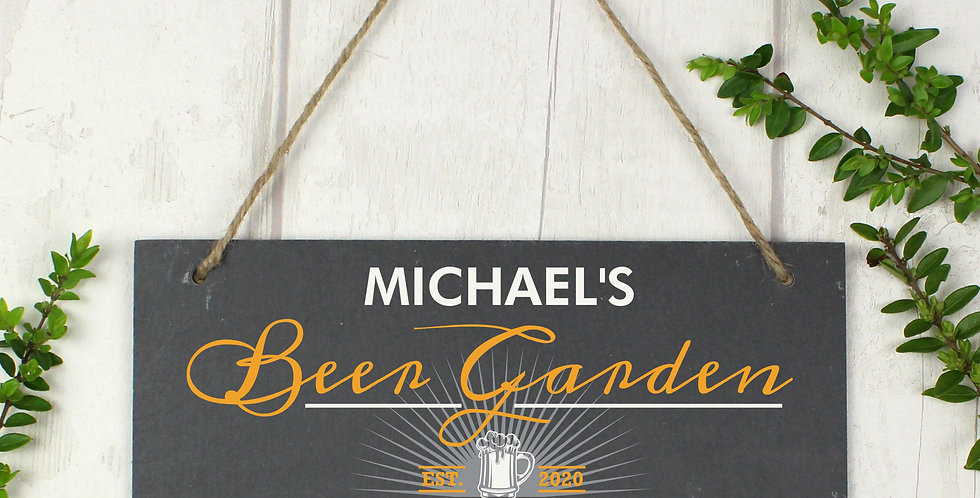 """Beer Garden"" Printed Hanging Slate Plaque"